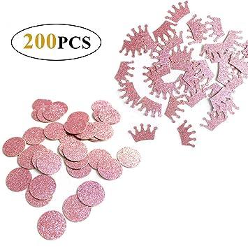 Amaoma Confeti de Papel Redondo,Oro Rosa Redondo y Corona Confeti Metálico de Mesa Lentejuelas