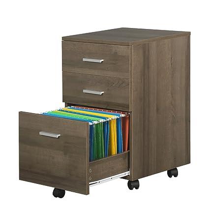 3 Drawer Wood File Cabinet With Wheels By DEVAISE In Black/Walnut/Oak(