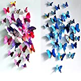 12Pcs 3D Butterfly Wall Sticker Fridge Magnet Home Decor Art ...