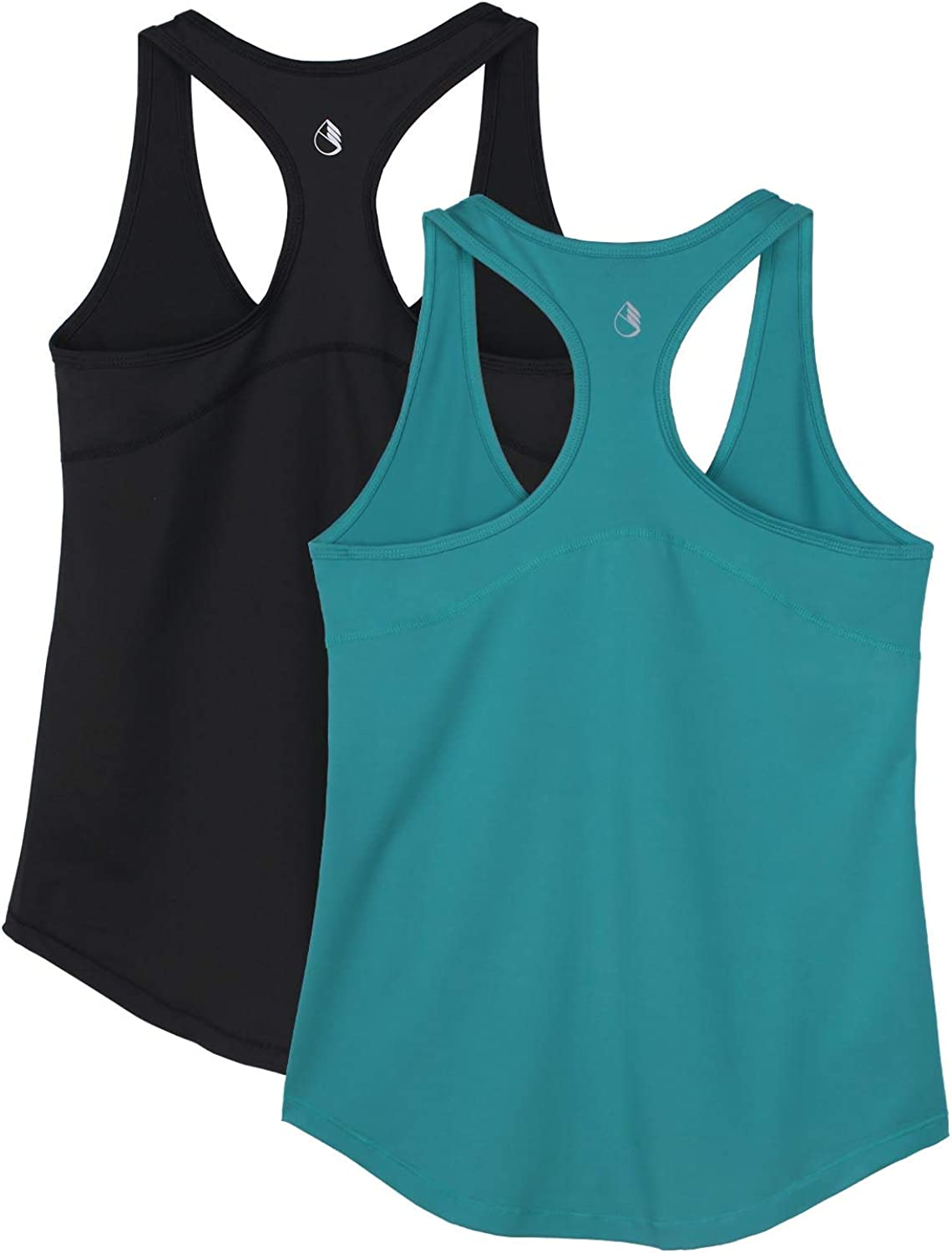 Athletic Yoga Tops icyzone Workout Tank Tops for Women Exercise Gym Shirts Pack of 2 Racerback Running Tank Top
