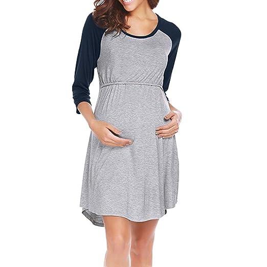 9e64320d1 ALIKEEY Las Mujeres Vestido De Maternidad De Enfermería Pijama Camison De  Lactancia Sleepwear Coche Faja Cojin