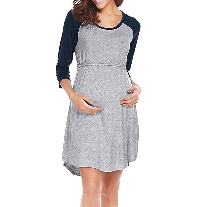 ALIKEEY Las Mujeres Vestido De Maternidad De Enfermería Pijama Camison De Lactancia Sleepwear Coche Faja Cojin Almohada Dormir Libro Sexy: Amazon.es: Ropa y ...