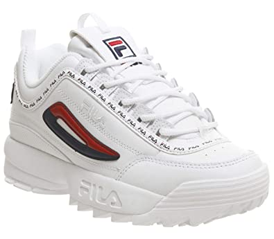 f86a12d15da3b4 Fila Disruptor Ii Premium Repeat Womens Trainers White Navy Red - 5 UK