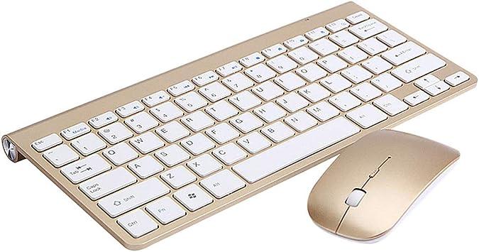 Solustre Combinación de Teclado Y Mouse Inalámbricos 2.4G Mini Teclado con Mouse para Oficina en El Hogar (Dorado)
