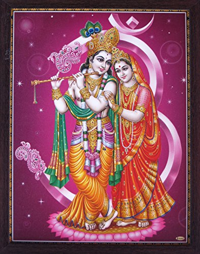 Handicraft Store Lord Radha Krishna with Ohm Symbol, a Decorative Religious Poster Painting with Beautiful Picture Frame, Must for Office/Home/Religious Purpose (Beautiful Images Of Lord Krishna And Radha)