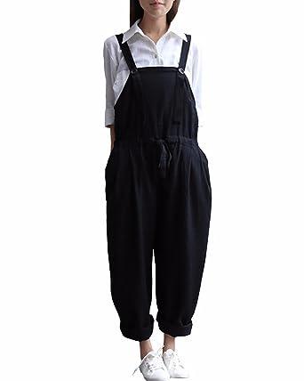 4c705ad7c055 StyleDome Femme Salopette Linge Coton Casual Large Lâce Longue Pantalon  Combinaison Jumpsuit Romper Noir EU 36