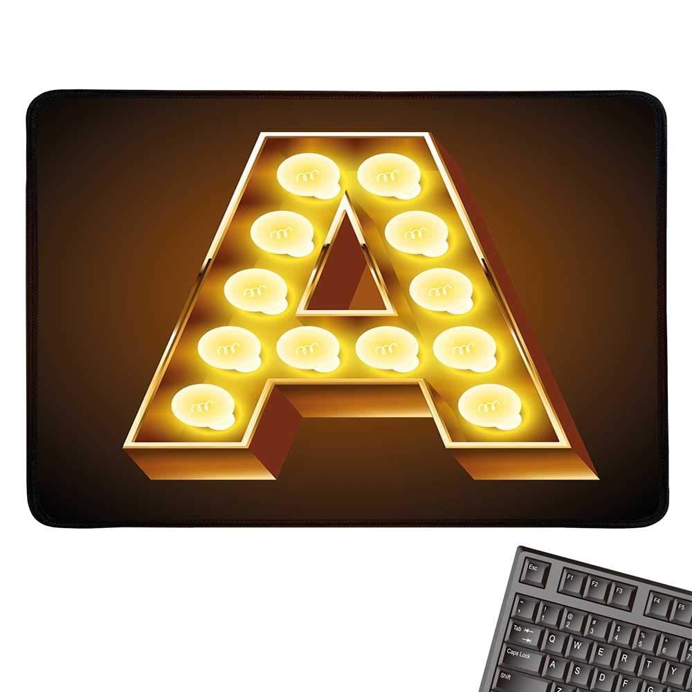 レターアラージマウスパッド グリーンバンブースタイル フォント アルファベットの最初の文字 自然にインスパイアされたイラスト 快適なマウスパッド 9.8インチx11.8インチ グリーンホワイト 9.8