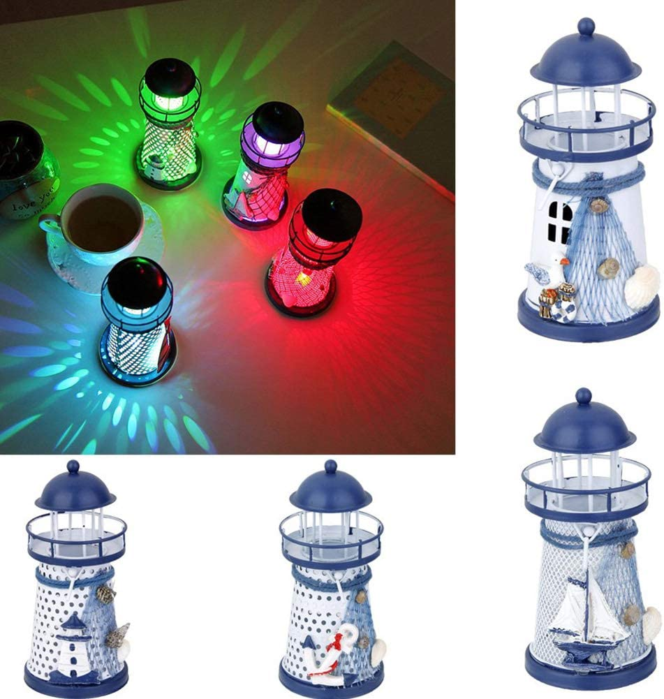 Iron Lighthouse Sailboat Pattern Color Changing LED Night Light Lamp Mediterranean Lighthouse Cretive Candlestick lamp not Include