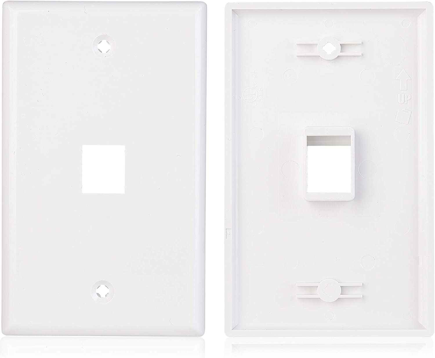 Cable Matters 2-Pack 1-Port Keystone Jack Wall Plate with Cat6 RJ45 Insert Cat6 Ethernet Wall Plate in White