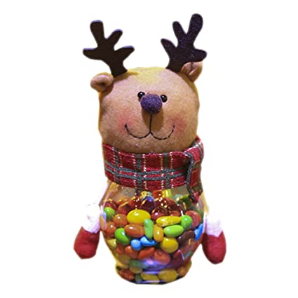 jasmineli Navidad Character Candy tarro Papá Noel Muñeco de nieve Elk forma dulces botellas, Elk
