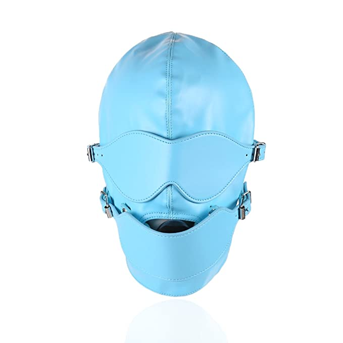 Fetish Mask Head Hood with Lockable Blindfold Dildo Penis Mouth Gag Bondage  Adult Sex Toys BDSM Blue: Amazon.ca: Clothing & Accessories