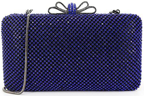 Dexmay Bling Rhinestone Crystal Clutch Purse Bow Clasp Women Evening Bag for Bridesmaid Wedding Party Blue by DEXMAY DM