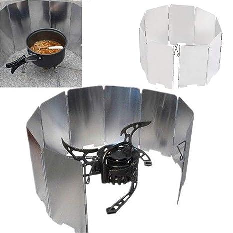 xiaohan - Mini 9 Platos Plegables para Cocina, Barbacoa, Estufa de Gas, Parabrisas