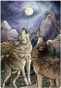 JASMODER Watercolor Wolf Garden Flag 12.6×18.5 Inch Double Sided Burlap Decorative Yard Banner Garden Flag Holiday Flag for Party Home Outdoor