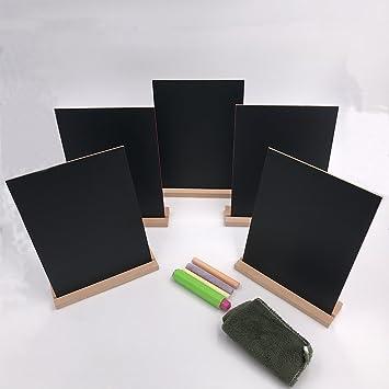 Paquete de 5 mini pizarras con soporte de madera de estilo ...