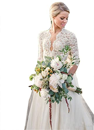 Fanciest Women\'s Vintage Lace Wedding Dresses With 3/4 Sleeves Boho ...