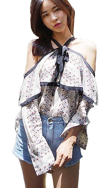 Minetom Manga Larga Verano Moda Camiseta Para Mujer Blusa Tops T Shirts Hombro Hoja Lotus Hollow