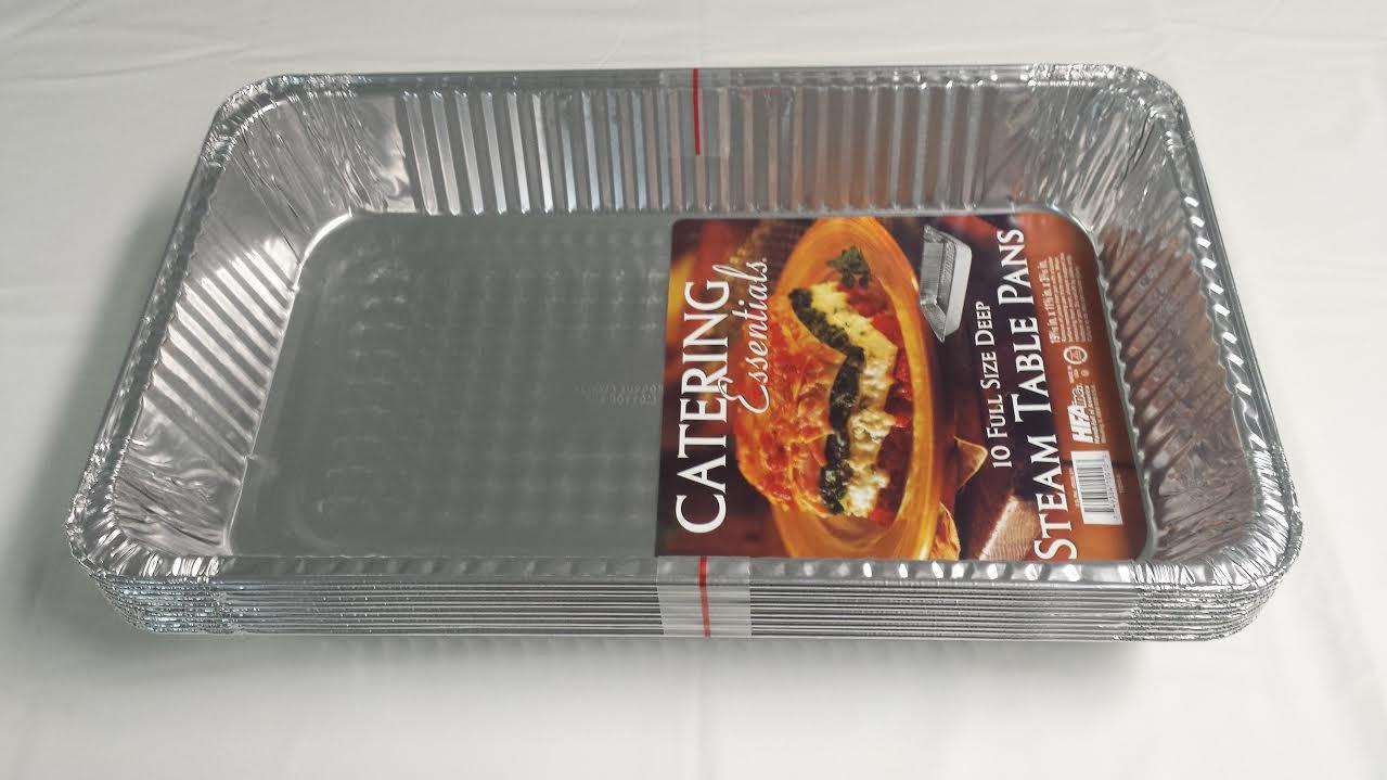Bandejas para horno extragrandes, desechables, de papel de aluminio (Gastronorm), profundidad de tamaño completo, paquete de 10 (con tapa de aluminio ...