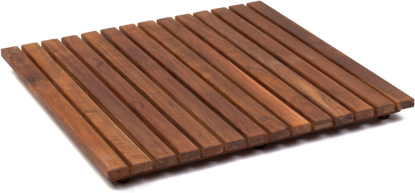 AsinoX TEK4A5050 - Tarima de ducha y baño, madera de teca, marrón