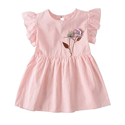 6e26e18fcb28 Image Unavailable. Image not available for. Color: EnjoCho 2019 New Fashion  Toddler Baby Girls Dress Ruffles Ruched Floral Summer Short Sleeve ...