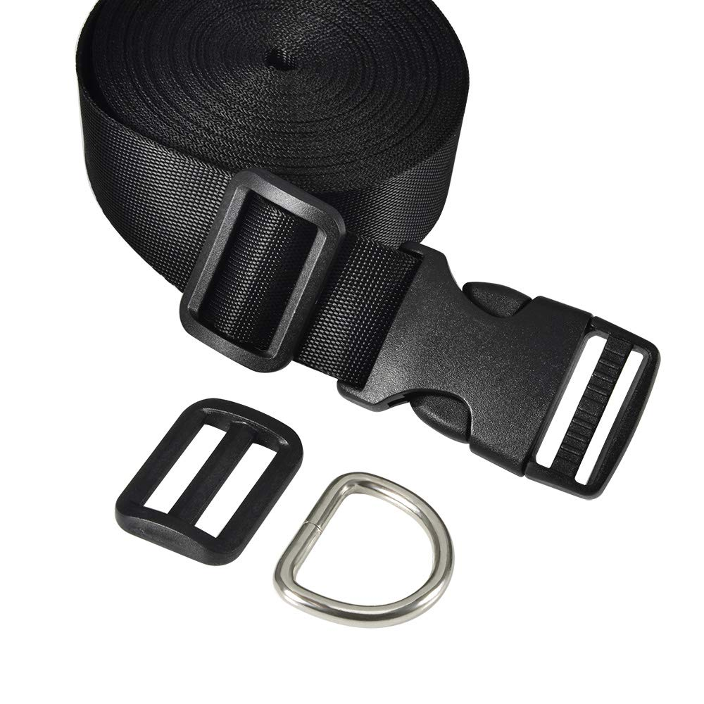 Coopay 1 Inch Plastic Buckles Kit Include 11 Yards Black Nylon Webbing Strap 10 Pack Side Release Plastic Buckles and 10 Pack Tri-Glide Slides