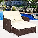 Cheap Cloud Mountain 2 Piece Patio Wicker Rattan Love Seat Sofa Daybed Set Outdoor Patio Love Seat Store Ottoman Garden Furniture Set Chaise Lounge, Creamy White Cushions with Cocoa Brown Rattan