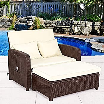 High Quality Cloud Mountain Tax Free 2 Piece Patio Wicker Rattan Love Seat Sofa Daybed  Set Outdoor Patio