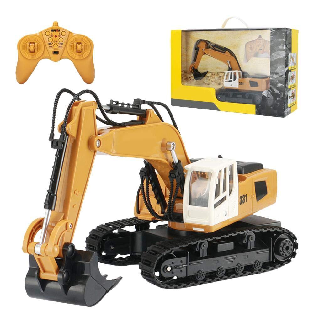 1:18 RC Ferngesteuert Bagger für Kinder Über 3 Jahre, Kanal 9 Baustellenfahrzeuge mit 360 Grad 2.4G Fernbedienung Metallschaufel Bagger Raupen Traktor Schaufelbagger