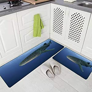 Doocilsh Kitchen Rugs,Kitchen Rugs Washable for Women and Men,17X48+17X24Inches Whale Shark Sea of Mexico Kitchen Rug