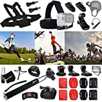 Xtech FOOTBALL ACCESSORIES Kit for GoPro Hero 4 3+ 3 2 1 Hero4 Hero3 Hero2, Hero 4 Silver, Hero 4 Black, Hero 3+ Hero3+ Hero 3 Silver, Hero 3 Black and for basketball, Soccer, Football, Golf, Golfing, Tennis, Baseball, Volleyball, Beach-ball, Hockey, Ice Hockey and other Similar Sport Activities Includes: + Head Strap Mount + Helmet Harness Mount + Chest Strap Mount + 2 J-Hook Mount + Camera Wrist Mount + Selfie Stick Monopod Pole + MORE