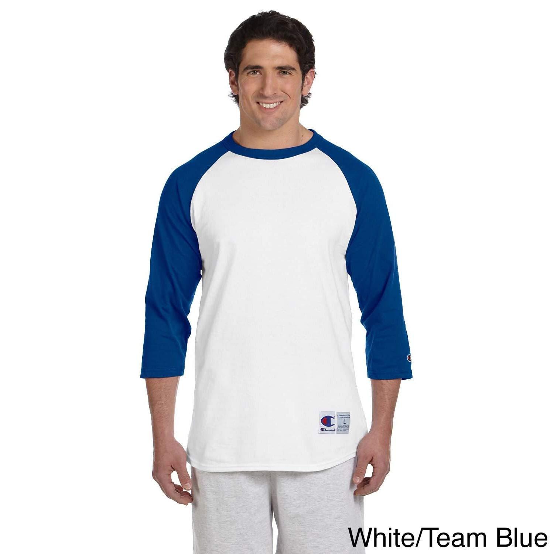 Champion Mens Tagless Raglan Baseball T-Shirt Oxford Grey//Scarlet 3XL
