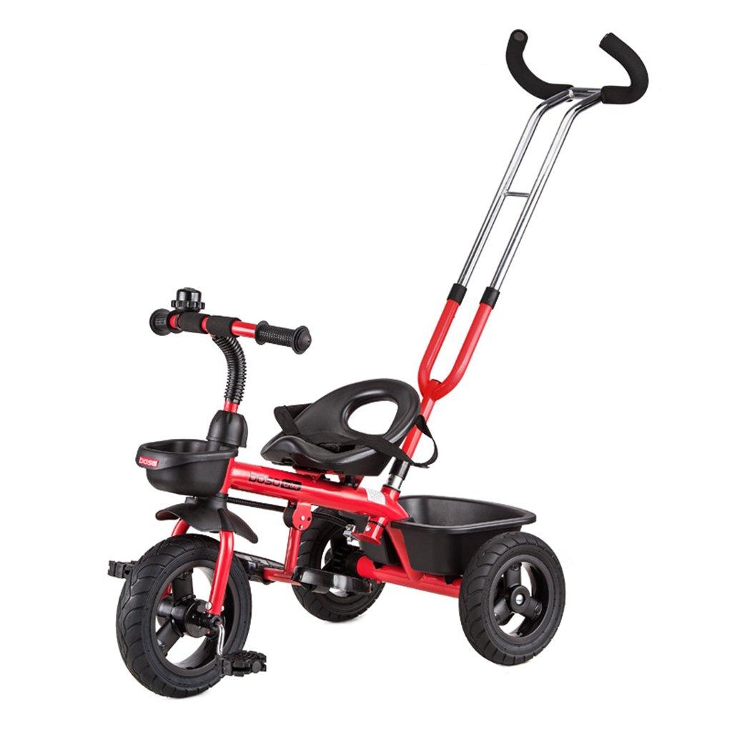 HAIZHEN マウンテンバイク 子供用三輪車フロントホイールクラッチ非膨張式チタン空ホイールバイクダブルブレーキダブルプッシュロッドベビーバイク 新生児 B07DL77N8NCherry red