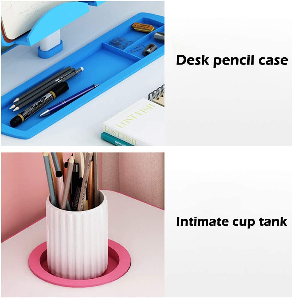 Kids Desk Student Writing Desk with LED Light for Studying and Reading Book Shelf Blue, 27.5 x 18 in Height Adjustable Children Desk and Chair Set,Childrens Combined Plastic Study Table Chair