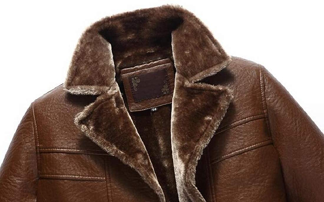 pipigo Men Pu Leather Single Breasted Winter Fleece Lined Quilted Jacket Coat Outerwear