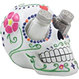Decorative Sugar Skull Salt and Pepper Shaker Holder Set for Dia de Los Muertos or Halloween Party Decorations & Gothic Kitchen Decor As Unique Holiday Gifts