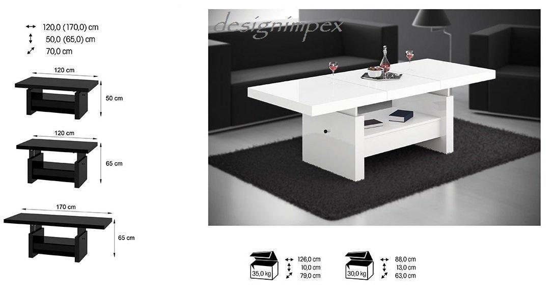 Design Couchtisch H-111 Weiß Hochglanz Schublade Höhenverstellbar