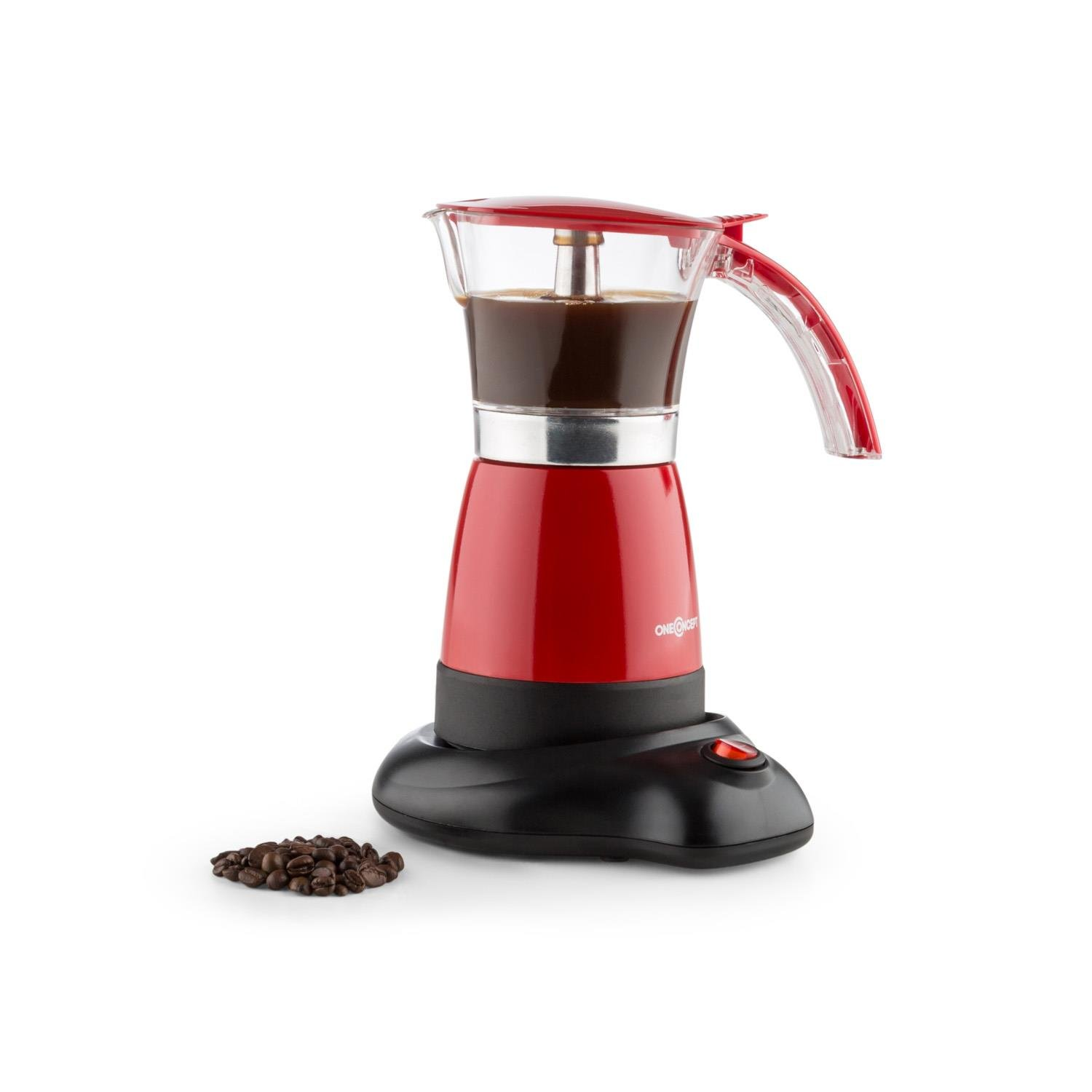 oneConcept Funpresso Espresso Maker • Coffee Machine • Electric • 6 Cups • 300 ml • 480W • Wireless Operating Comfort • Cool-Touch Handle • Safety Valve • No Burning Hazard • Easy Cleaning with Water • Energy-Efficient • Electrical Base Station • Red