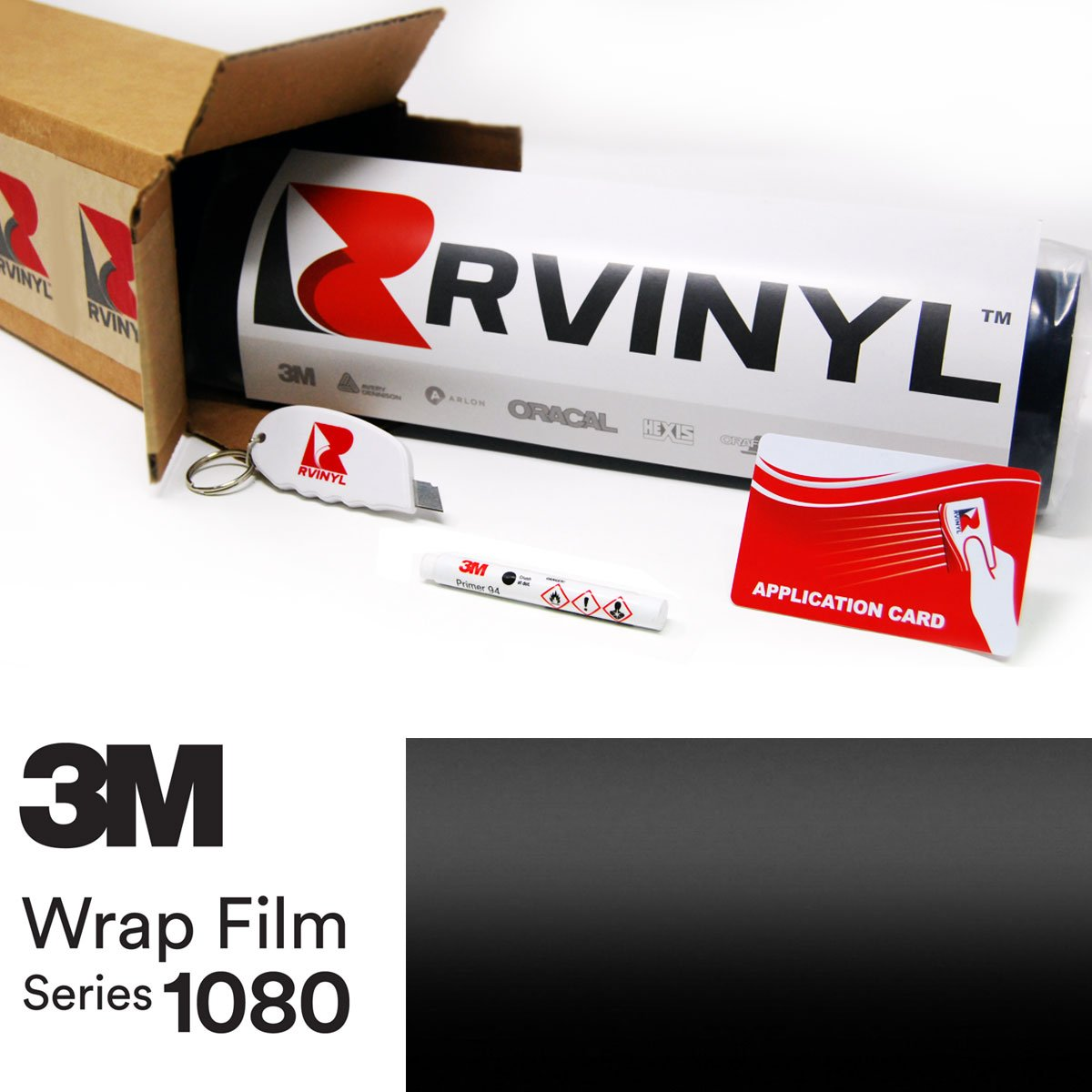 3M 1080 S12 SATIN BLACK 4in x 6in Sample Size Vinyl Vehicle Car Wrap Film Sheet Roll