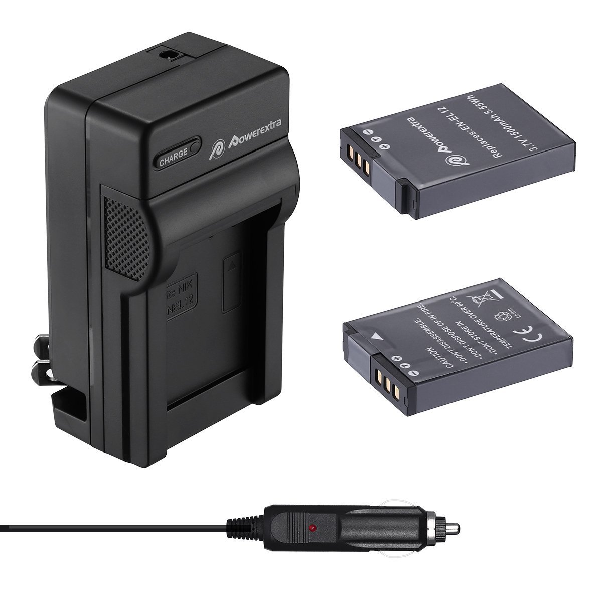 Powerextra 2 Pack Battery and Charger for Nikon EN-EL12 and Nikon Key Mission 360, Nikon Coolpix AW130, A900, W300, P340, S9900, S8200, S6300, S1200pj, S800C, S710, S31, S70, etc(check description)