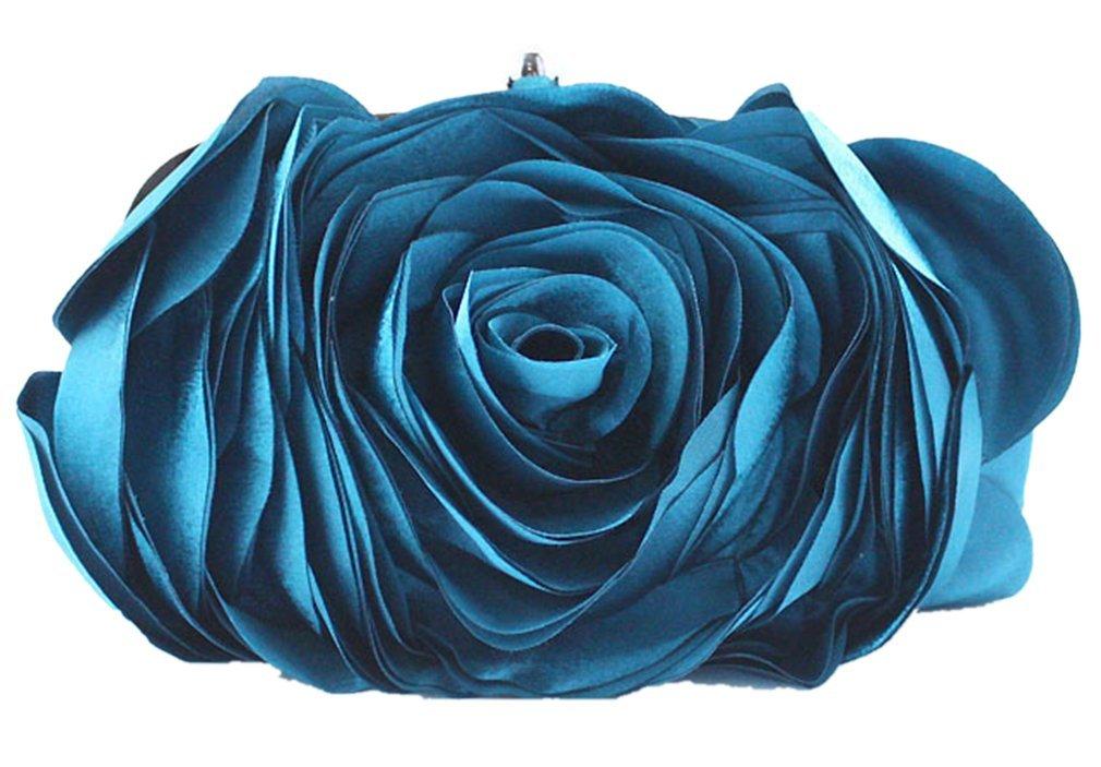 Bywen Womens Rose Pattern Purse Party Clutch Shoulder Bags Blue