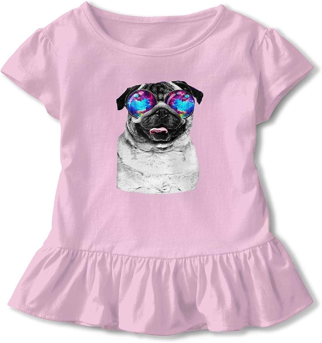 Cheng Jian Bo Galaxy Pug with Cool Glass Toddler Girls T Shirt Kids Cotton Short Sleeve Ruffle Tee
