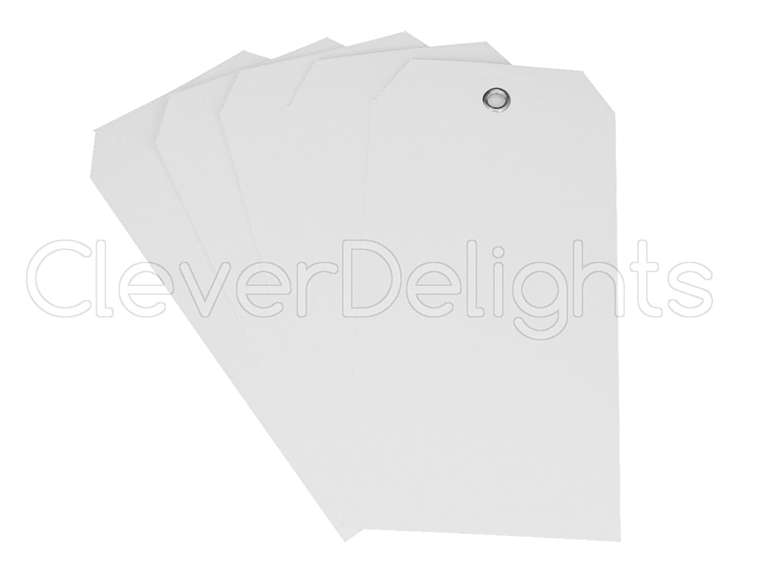 50 Pack - CleverDelights White Plastic Tags - 4 75