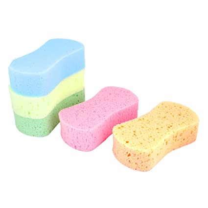 uxcell/® 5 Pcs Assorted Color 8 Shape Cleaning Wash Sponge Pad for Auto Cars