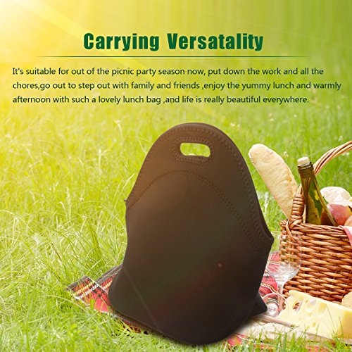 Lunch Tote, OFEILY Lunch boxes Lunch bags with Fine Neoprene Material Waterproof Picnic Lunch Bag Mom Bag (Black) by Ofeily (Image #1)