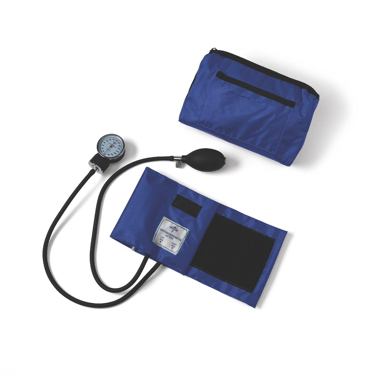 Medline Compli-Mates Aneroid Sphygmomanometer Kit with Carrying Case, Adult Blood Pressure Cuff, Manual, Professional, Royal Blue