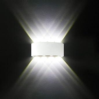 Merveilleux Applique Murale LED Interieur, Moderne 8W Blanc Aluminium étanche Lampe Murale  LED Interieur/Exterieur