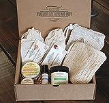 Gift box, 2 Bars cold process soap, Sisal wash cloth, soap saver bag, Calendula salve, lip balm, body lotion, Immunity Synergy Blend roll on oil Great gift idea.
