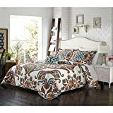 4 Piece Red White Orange Aqua Blue Queen Quilt Set, Bohemian Themed Reversible Bedding Boho Paisley Floral Flower Ivory Vintage Retro Medallion Hippie Antique Vibrant Colorful, Microfiber