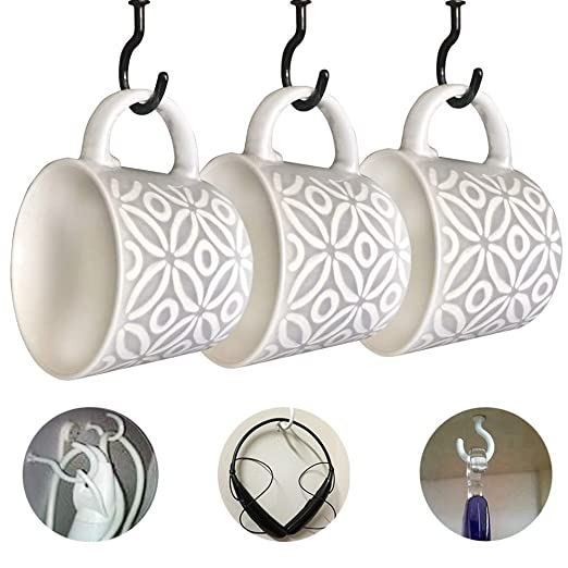 ECKJ Cup Hooks Mug Hooks 20PCS Ceiling Hooks Vinyl Coated Screw in Wall Hooks Plant Hooks Kitchen Hooks Great for Indoor Outdoor Use Color White 1.77 Inches
