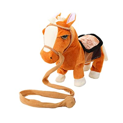 HEgh23ar 10inch Electric Plush Singing Walking Horse Pony Simulated Intelligent Plush Toys,Kids Toy Light Brown: Kitchen & Dining [5Bkhe0206253]